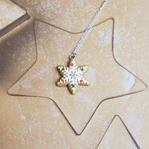 Snowflake Christmas Cookie Pendant Necklace
